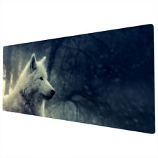 90x40cm Extra Large Xxl Mouse Mat Pad Full Desk White Wolf Forest Black