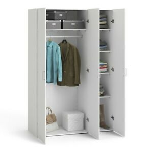 White 3 Door Wardrobe with Shelves and Hanging Rail Modern Bedroom Furniture