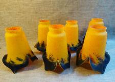 """6 tulipes en pâte de verre art deco signé """"Le Verre Artistique""""  lustre, lampe"""