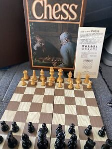 Vintage Chess Set 3M Bookshelf Game Classic French Wood Chessmen 1970 Staunton