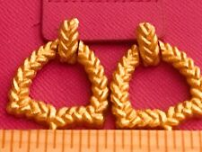 Givenchy Vintage Post Earrings Gorgeous Braided Rope Design Satin Gold Plating
