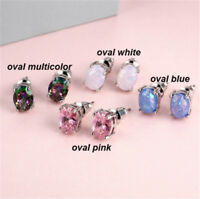 Round Cut White Fire Opal Stud Hypoallergenic Stainless Silver Plated  Earrings
