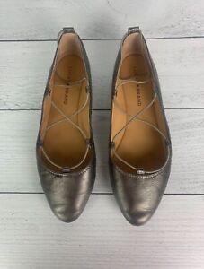 Lucky Brand Women's 8.5 M Metallic Leather Aviee Criss Cross Ballet Flats Shoes