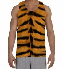 Tiger Skin Print Men's All Over Vest Tank Top - Animals Festival Party Summer