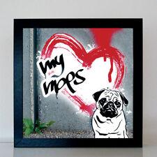 Mops Streetart Style Graffiti Urban Art Poster Bild Fotoposter Druck 30x30 cm