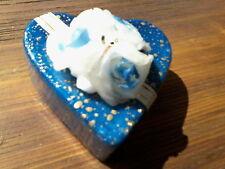 Herz Kerze Wachs Rosen blau Geschenk Deko 8 x 6 cm 92 Gramm Leadless Wick Italy