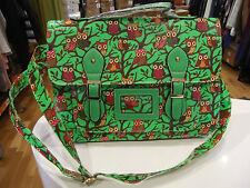 Moda Bolso nuevo con etiquetas sólo Neón Verde con Dibujo de Búho de bolso estructurado Hule