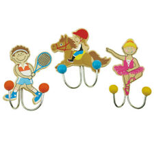 Wandhaken Garderobenhaken Holz Kinder Sport Fußball Pferd Ballerina 3er Set