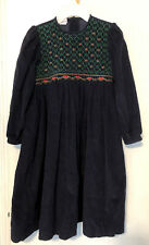 Will'Beth Girls Navy Corduroy Smocked Dress Size 6X