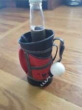 "Mini Enesco Golf Bag Wine Beer Carrier Caddie Office 8"" High with ball corkscrew"