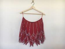 Nicola Finetti | Red silk leaf sequinned beaded mini skirt sz 10 RRP $350