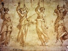 4 CARIATIDES. DRAWING-WATERCOLOR. ATTRIBUTED TO PIERINO DEL VAGA. ITALY.  XVITH