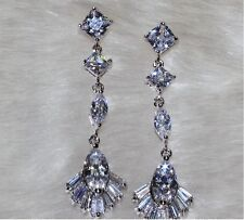14K White Gold Filled AAA Clear CZ Wedding Party Vintage Stud Dangle Earrings