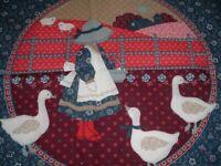 2 Vtg 70s Calico Sunbonnet Sue Goose Lamb Blue Red Pillow Quilt Fabric Panel PB9