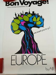 Vintage Bon Voyage Travel Poster Europe 60s Psychedelic Made In USA Free Ship