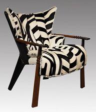 "37"" Zebra hide print club arm chair Australian leather exotic wood cool details"