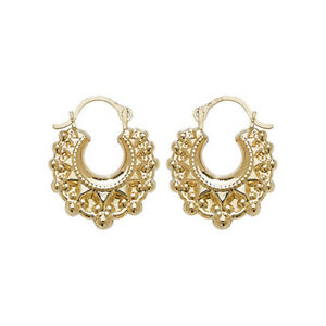 9CT GOLD CREOLE EARRINGS - BABY/CHILD - BOXED GYPSEY STYLE VICTORIAN SPIKED
