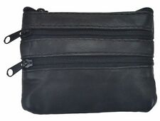 Genuine Leather Black Small Coin Wallet Change Purse Four Zipper Pockets Black