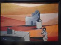 Grand tableau abstrait contemporain peinture femme nue féminin Roman LASA