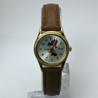Disney Womens MU1O23 Mickey Mouse Gold Tone Quartz Analog Watch Leather Band