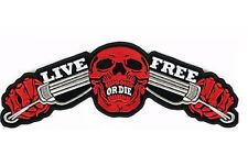 """Live Free Or Die Handlebar Skull Biker Rider Big Embroidered Back Patch 14"""""""