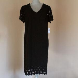 Dressbarn Roz & Ali - Lazer Cut Detail Short Sleeve Shift Dress  - Sz 1X - Black