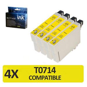 4 x yellow T0714 non-oem ink cartridge Epson Printer Bx3450 Stylus Cx4300 D120