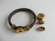 3Sets Antique Gold Snap Button Clasp For 6mm Round Leather Cord Bracelet Finding