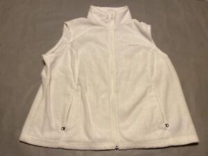 Columbia Vest Adult 3XL XXXL White Gray Full Zip Outdoor Sleeveless Mens