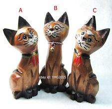 3 Cute Vintage SIAMESE CATs HANDMADE CARVED WOOD for Home Decor and Collectible