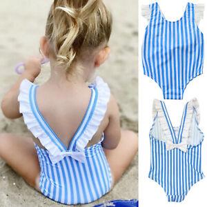 Toddler Kids Baby Girl Bikini Striped One-Piece Swimwear Swimsuit Beachwear