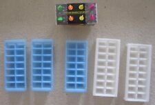 Pre-Owned Lot of 6 Ice Cube Trays and Popsicle Maker Plastic Blue White Rainbow