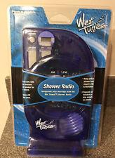 Salton Wet Tunes Hanging Shower Radio & Lcd Clock Indigo Blue 2001 ~New & Sealed