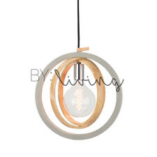 Modern Contemporary Minimal wood Timber circular Concrete pendant light Original