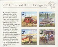 USA 1989 UPU/Horses/Boat/Bi-plane/Car/Paddle Steamer/Transport imprf m/s n44358q