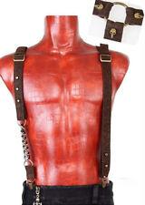 Bretelles gothique steampunk vintage cuir chaîne tête de mort Punkrave Homme C