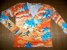 Blumiger Stretch Cardigan Strick Jacke Damen 38 40 Langarm orange Pailletten #99