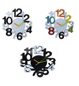 Orologio da parete con numeri colorati decorazione moderno per casa vari colori