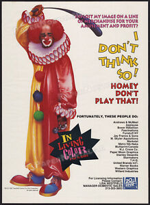 IN LIVING COLOR__Orig. 1991 Trade print AD / Lic. promo / poster__Homey D. Clown