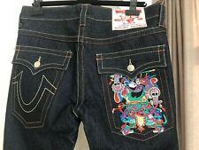 "New Authentic ""True Religion"" JOEY Men's Jeans 34 32 RARE Purple Buddha Samurai"