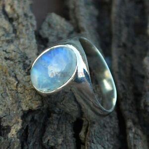 Natürlich Regenbogen Mondstein Edelstein Mit 925 Sterlingsilber Ring For