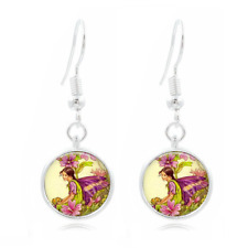 Fairy Art Photo Tibet Silver Dome Photo 16MM Glass Cabochon Long Earrings #116