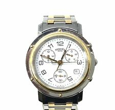 Hermes Paris Gold/Silver Stainless Steel Chronograph Cl1-320 Watch