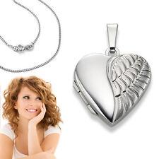 Foto Medaillon Engels Flügel Herz Amulett Bilder Anhänger Silber 925 mit Kette