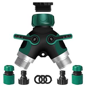 Garden Hose Splitter, 2 Way Hose Tap Connector, Outdoor Double Y Valve Water Tap