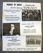 1973 DARTMOUTH MUSICALES Ad TATRAI STRING QUARTET Gabriel Chodos RHENISH CHAMBER