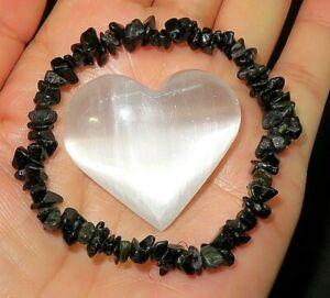 CHARGED Natural Black Tourmaline Crystal Chip Stretchy Bracelet + Selenite Heart