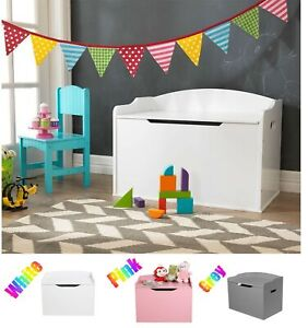 Wooden Toy Box Heavy Duty Kids Bedroom Nursery Box Ottoman Storage Chest Colors