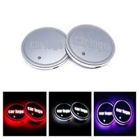 2x Car LED Light Coaster Colorful Atmosphere Lamp USB Charging Non-slip coaster