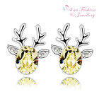 18K White Gold Plated Made With Swarovski Element Lovely Reindeer Stud Earrings